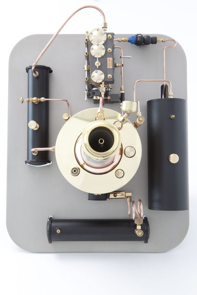 Model Static Steam Unit - Kingdon style vertical boiler coupled with a three-cylinder steam engine.